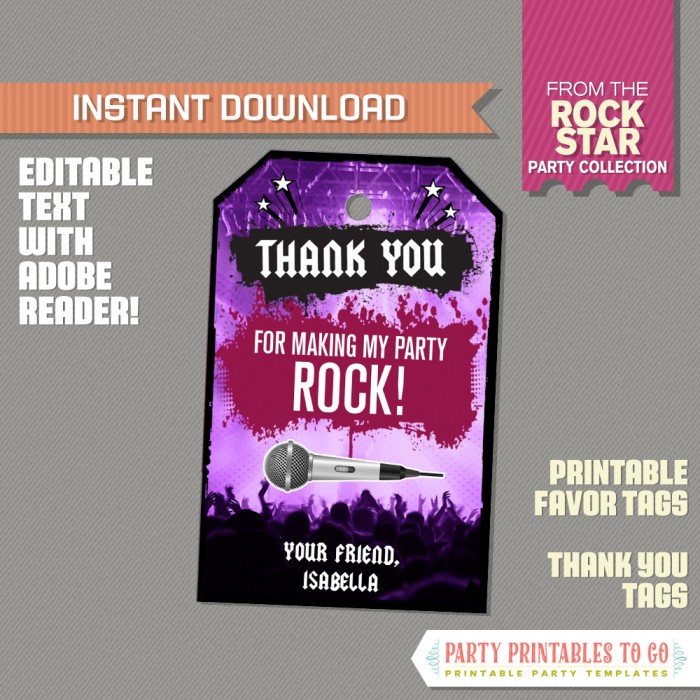 Rockstar Party Favor Tags / Rockstar Thank you Tag (Purple)