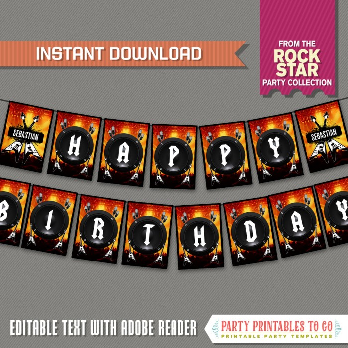 Rockstar Party Printable Birthday Banner with Spacers