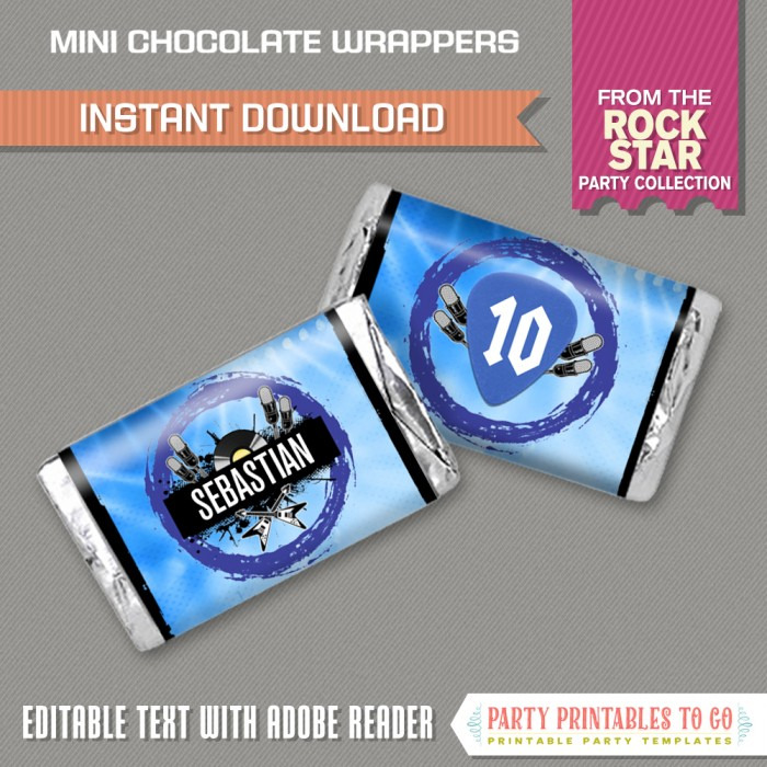 Rockstar Party Mini Chocolate Wrappers (Blue)