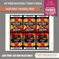 Rockstar Birthday Party VIP Pass Invitations - Front and Back