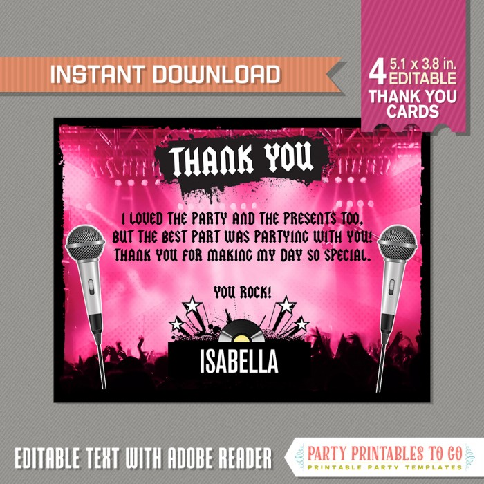 Rockstar Party Thank you Cards (Pink)