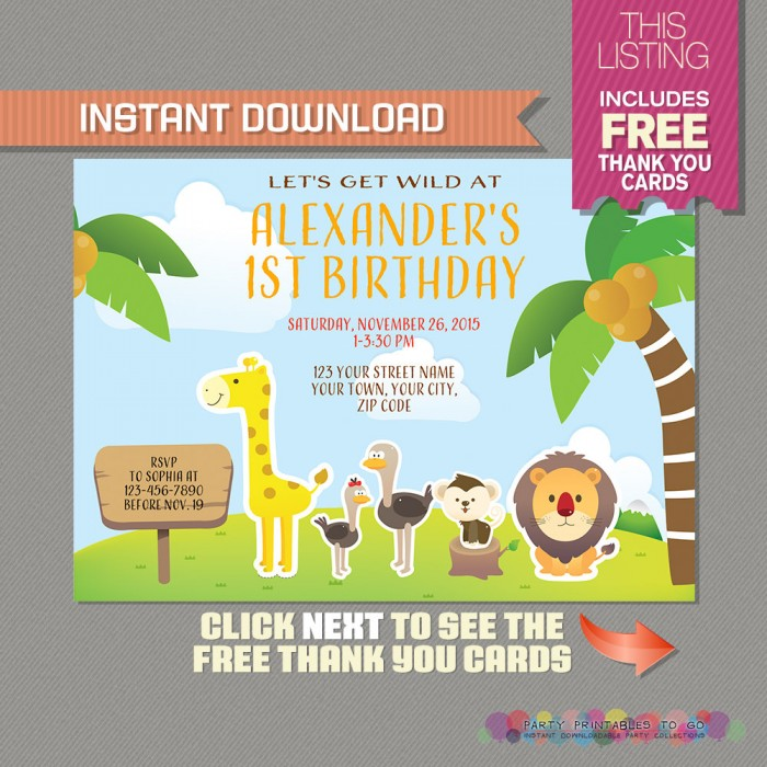 safari invitation with free thank you card jungle birthday