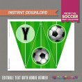 Soccer Party Printable Birthday Banner with Spacers