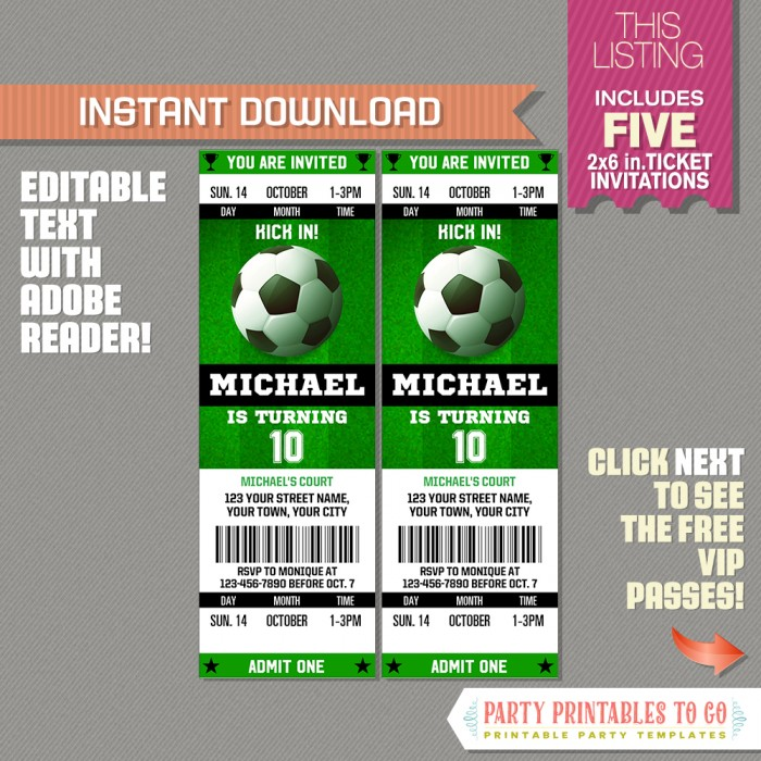 soccer ticket invitation with free vip passes design 2 soccer