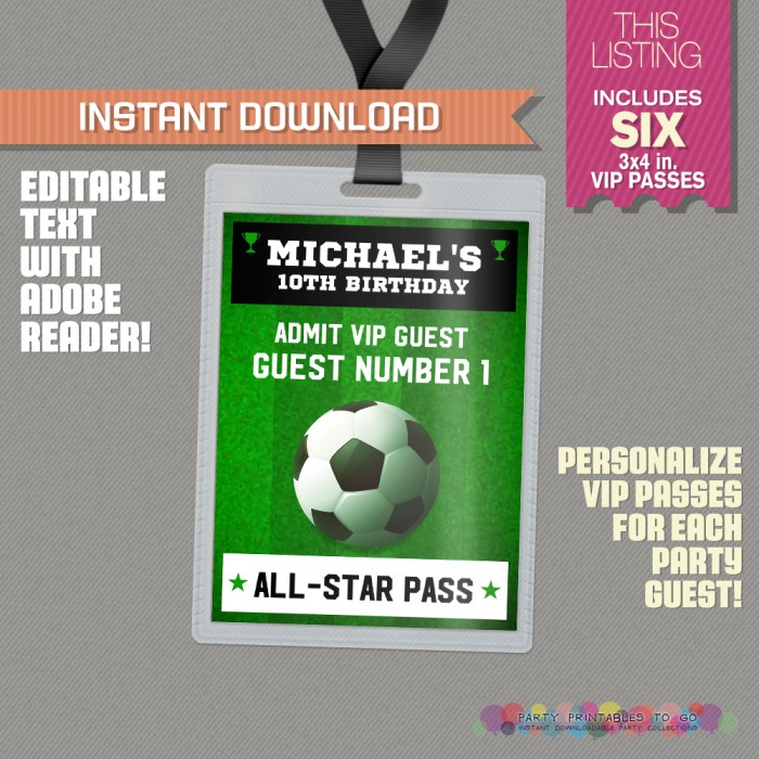 Soccer Party All Star Pass printable Insert (Design 2)