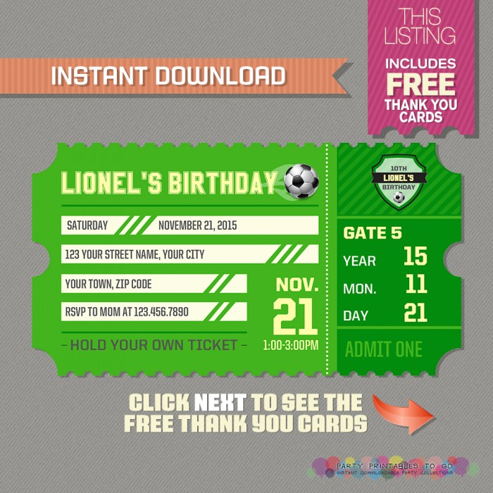 Soccer Invitation with FREE Thank you Card