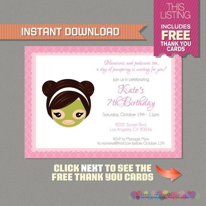 Spa Party Invitation with FREE Thank you Card