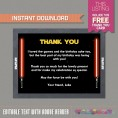 Star Wars Party Invitation with FREE Thank you Card