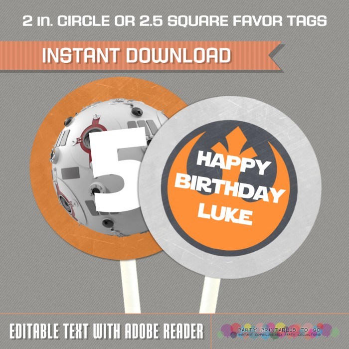 Star Wars Party Printable Birthday Labels (Rebel Alliance)