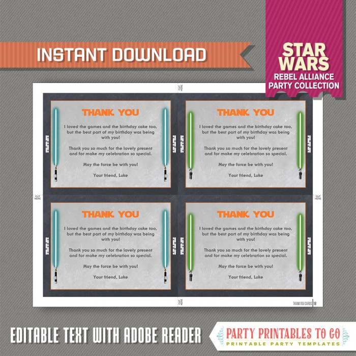 Star Wars The Force Awakens Party Invitation With FREE Thank You Card Rey