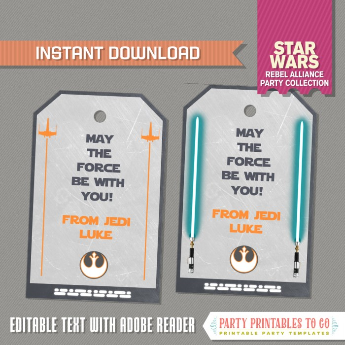 Star Wars Party Favor Tags / Star Wars Thank you Tag (Rebel Alliance)