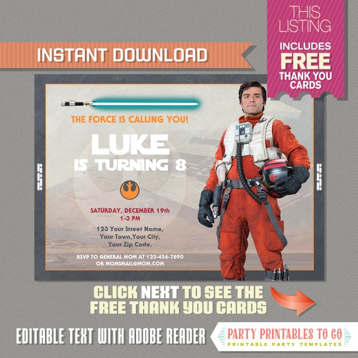 Star Wars The Force Awakens Party Invitation with FREE Thank you Card  (Poe Dameron)
