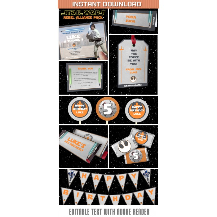 Star Wars Rebel Alliance Party Invitations & Decorations