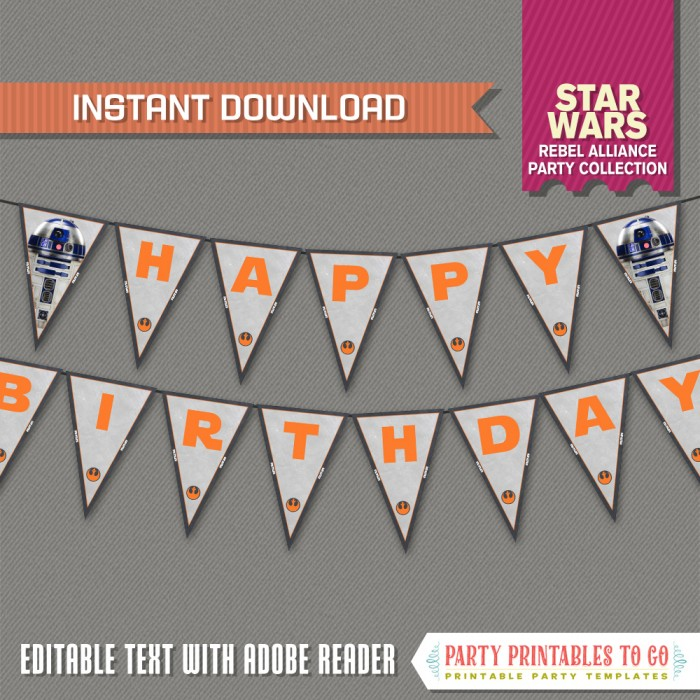 Star Wars Party Birthday Banner with Spacers - (Rebel Alliance)