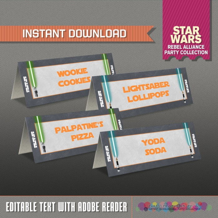 Star Wars Party Food Label or Star Wars Place Cards (Rebel Alliance)