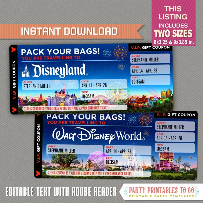 graphic about Disney World Printable Tickets titled Editable Speculate Getaway Ticket in the direction of Disneyland / Disneyworld