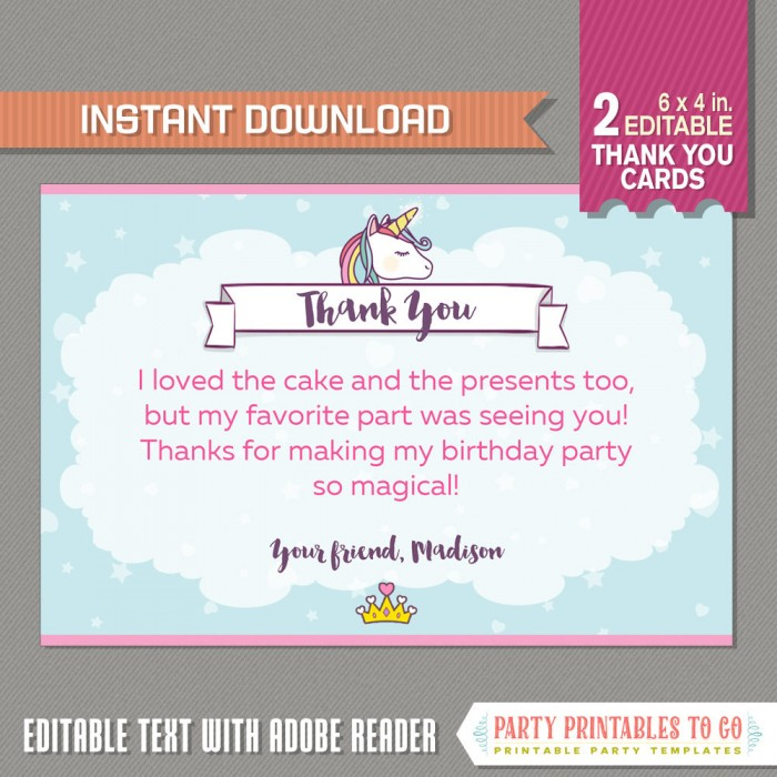 unicorn party thank you cards unicorn party thank you notes 6x4