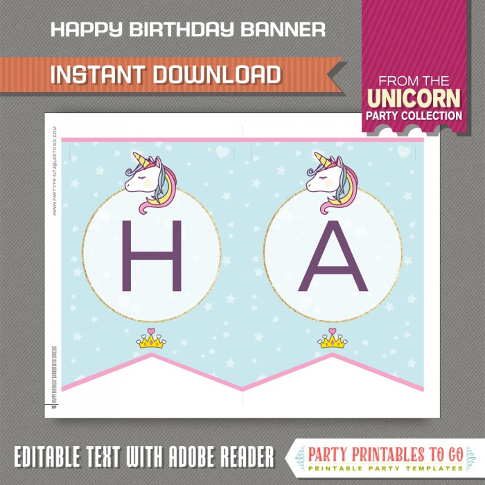 Unicorn Party Printable Birthday Banner With Spacers Editable Pdf File Print At Home Unicorn Pennant Banner Unicorn Theme