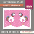 Unicorn Party Printable Birthday Banner with Spacers