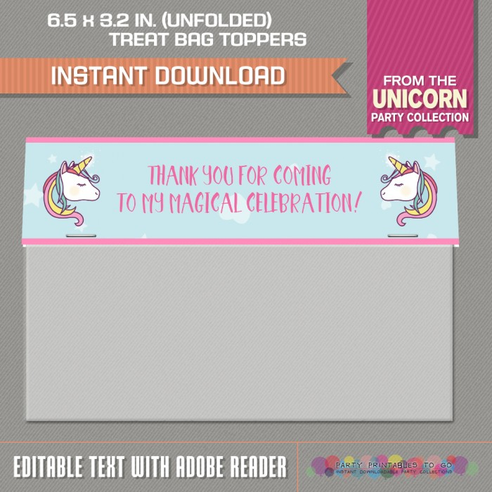 Unicorn Party Wide Treat Bag Toppers