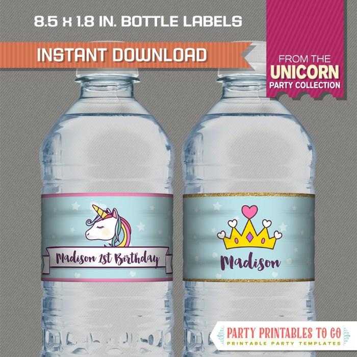 Unicorn Party Water Bottle Labels
