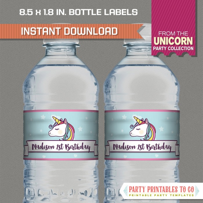 Unicorn Party Water Bottle Labels (Only Unicorn)