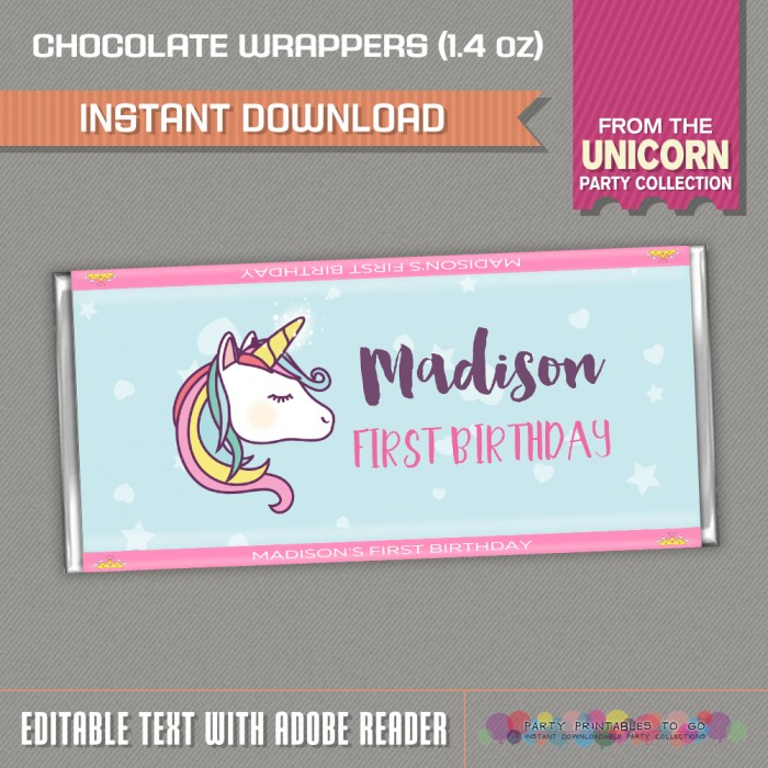 Unicorn Party Candy Bar Wrappers Unicorn Birthday