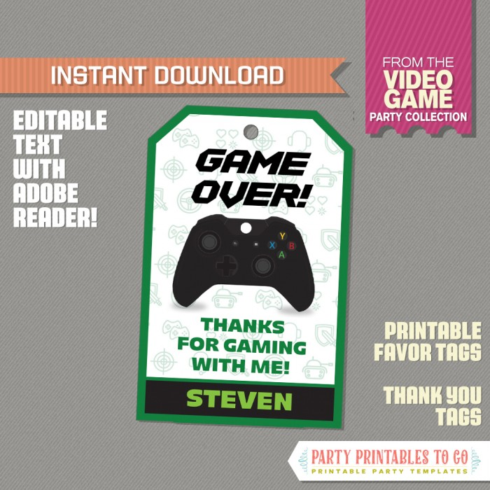 Video Game Favor Tag Video Game Thank You Tag Green Instant Download Video Game Party Edit And Print With Adobe Reader