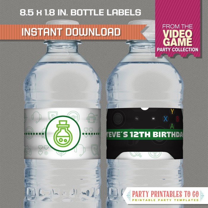 Video Game Party Bottle Labels (Green)