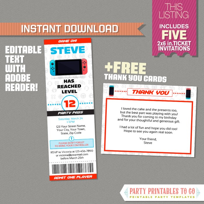 image about Free Printable Video Game Party Invitations referred to as Video clip Recreation Ticket Invitation with Cost-free Thank by yourself Card! (Pink)