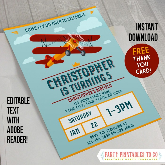 Vintage Airplane Party Invitation with FREE Thank you Card!