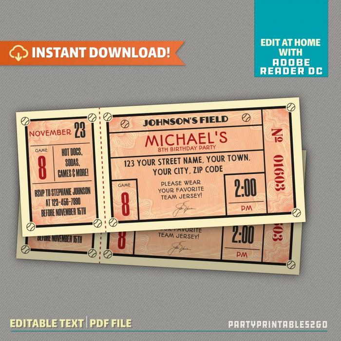 Vintage Style Baseball Ticket Invitation