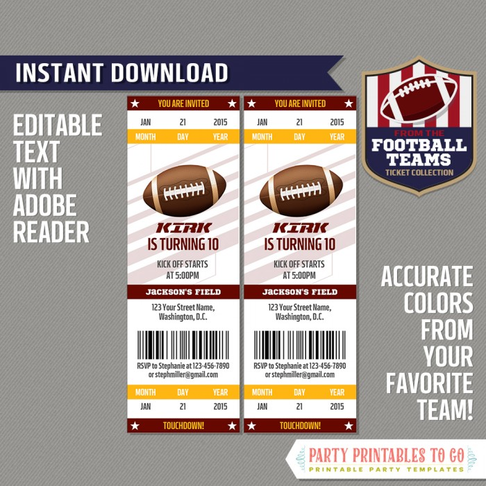 image relating to Redskins Printable Schedule referred to as Washington Redskins Ticket Invitation - Editable PDF record