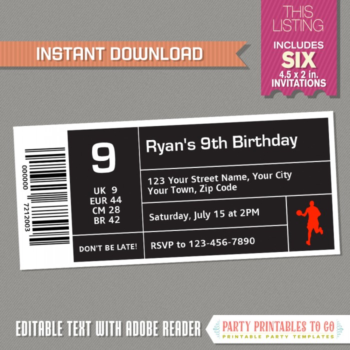 Air Jordan Style Basketball Ticket Invitation Instant Download Basketball Birthday Basketball Party Invitation Edit And Print With Adobe Reader