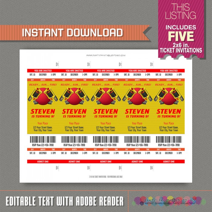 nerf and dodgeball party ticket invitation nerf and dodgeball party ticket invitation