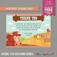 Barnyard Farm Party Invitation with FREE Thank you Card