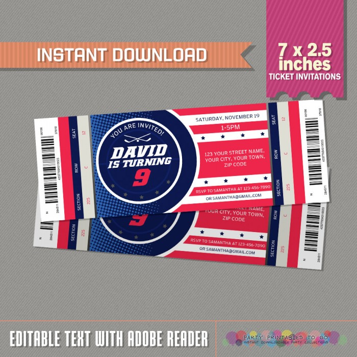 Ice Hockey Ticket Invitations