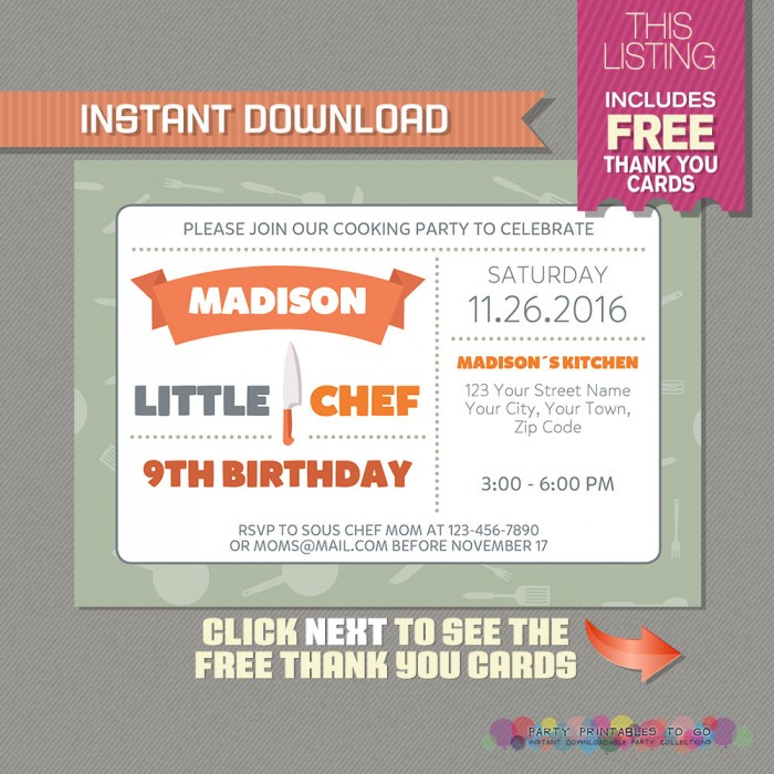 Little Chef Party Invitation with FREE Thank you Card