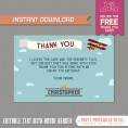 Airplane Party Ticket Invitation with FREE Thank you Card