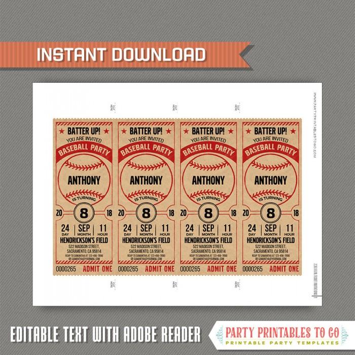 Vintage Style Baseball Party Ticket Invitation - Baseball Birthday ...