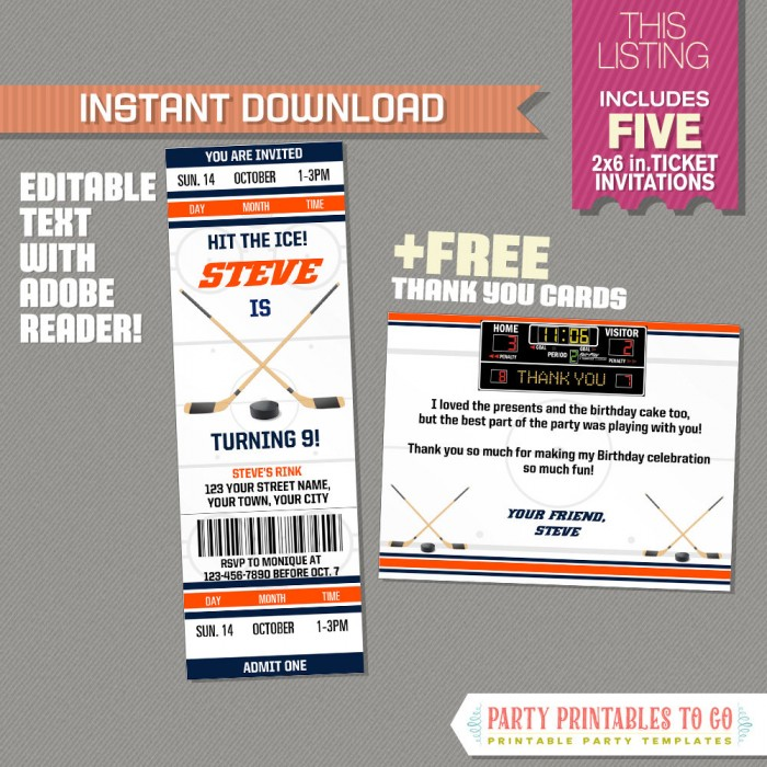 Ice Hockey Ticket Invitation With Free Thank You Card Edmonton
