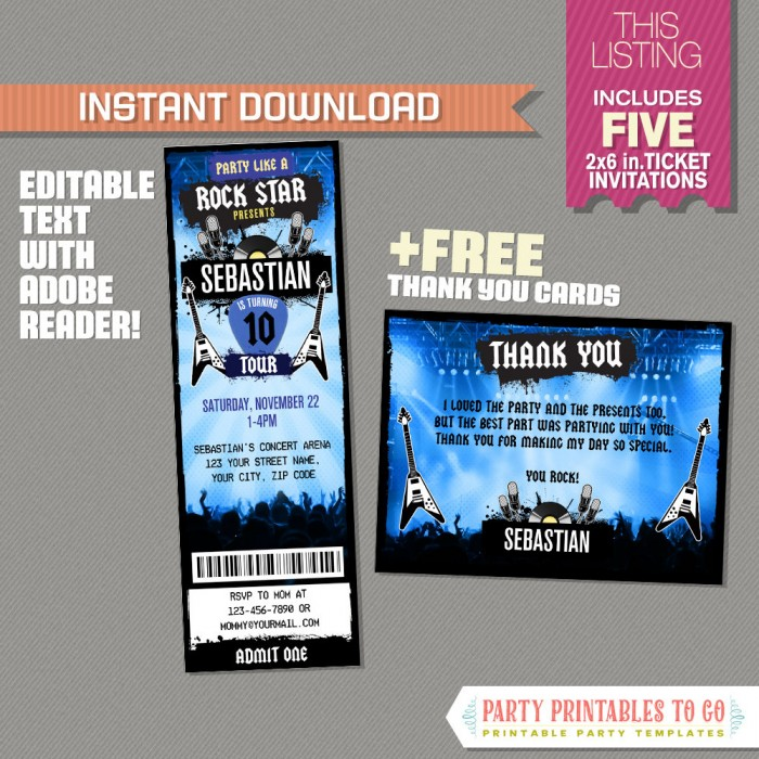 Rockstar Party Ticket Invitation (Blue) with FREE Thank you Card!