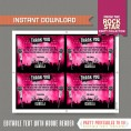 Rockstar Party Ticket Invitation (Pink) with FREE Thank you Card!