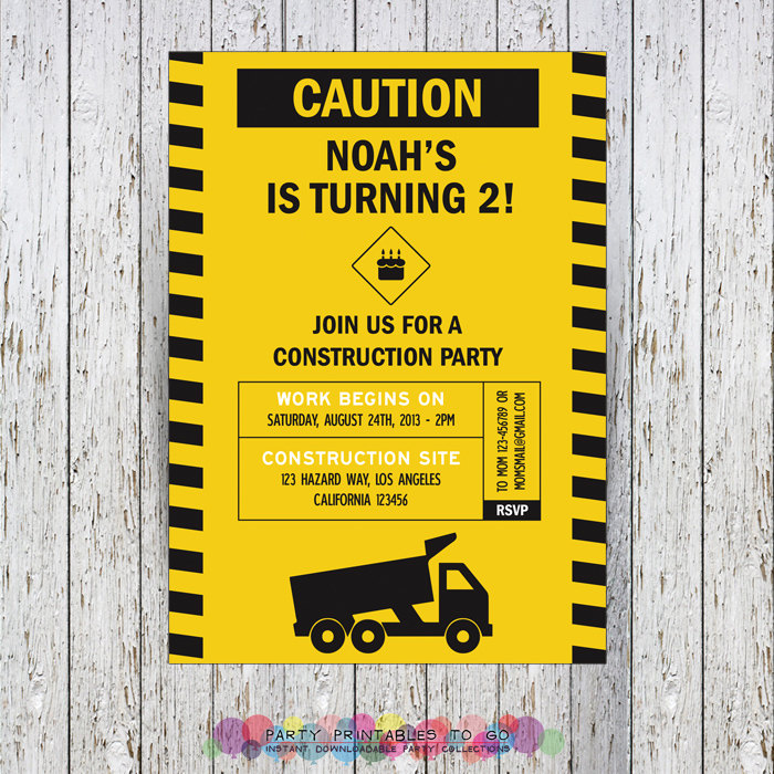 Construction Party Printable Collection & Invitations - Edit