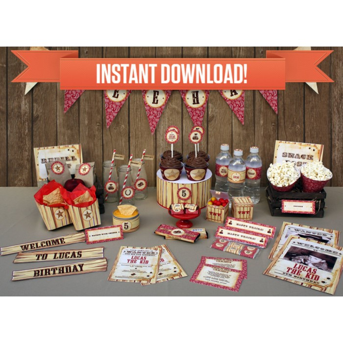 Cowboy Birthday Party Printable Collection & Invitation