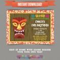 Hawaiian Luau Birthday Party Printable Invitation