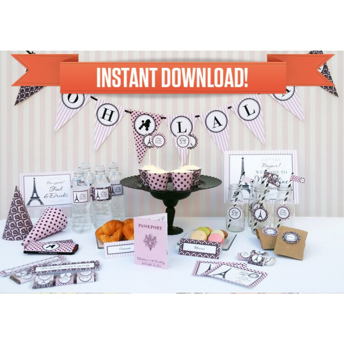 Paris Party Printable Collection Invitations