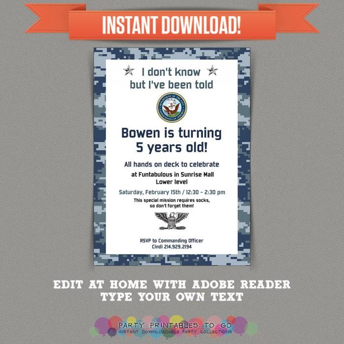 Navy Printable Birthday Party Invitation