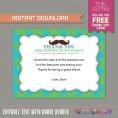 Little Man Invitation with FREE Thank you Card