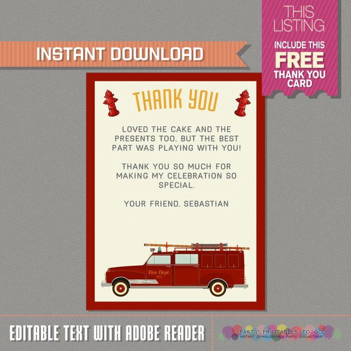 Firetruck Invitation - Fireman Invitation with FREE Thank you Card ...